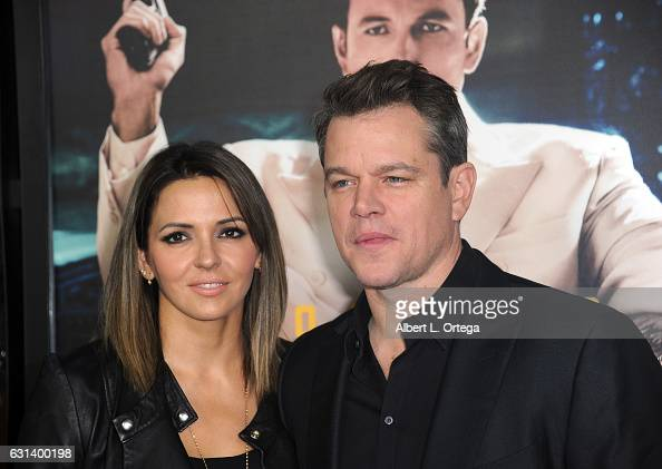 Actor Matt Damon and wife Luciana Barroso arrive for the Premiere Of Warner Bros Pictures' 'Live By Night' at TCL Chinese Theatre on January 9 2017...
