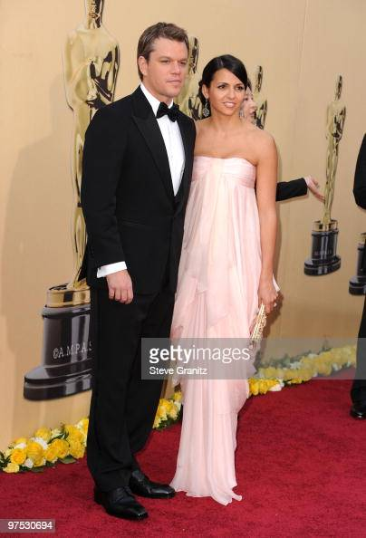 Actor Matt Damon and wife Luciana Barroso arrives at the 82nd Annual Academy Awards held at the Kodak Theatre on March 7 2010 in Hollywood California