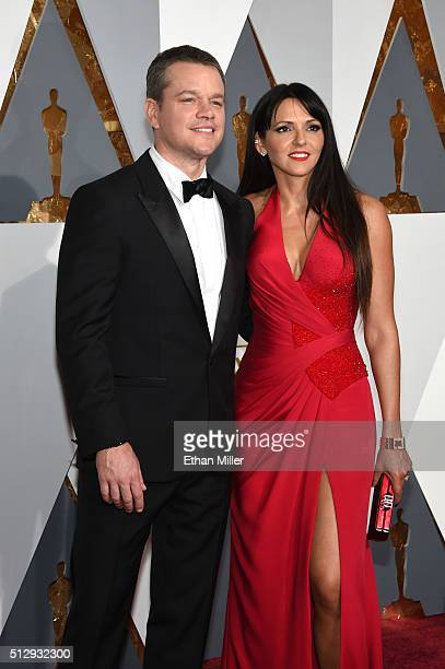 Actor Matt Damon and wife Luciana Barroso attend the 88th Annual Academy Awards at Hollywood Highland Center on February 28 2016 in Hollywood...