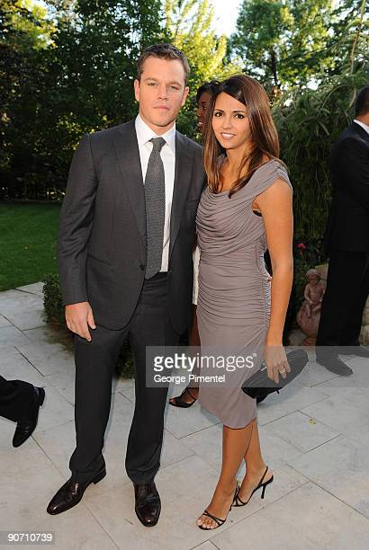Actor Matt Damon and wife Luciana Bozan Barroso attend the ONEXONE Private Dinner at a Private Residence on September 13 2009 in Toronto Canada