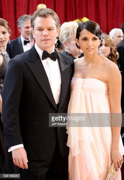 Actor Matt Damon and wife Luciana Damon arrive at the 82nd Annual Awards at the Kodak Theatre on March 7 2010 in Hollywood California