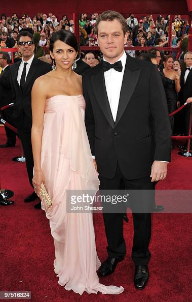 Actor Matt Damon and wife Luciana Damon arrive at the 82nd Annual Academy Awards held at Kodak Theatre on March 7 2010 in Hollywood California