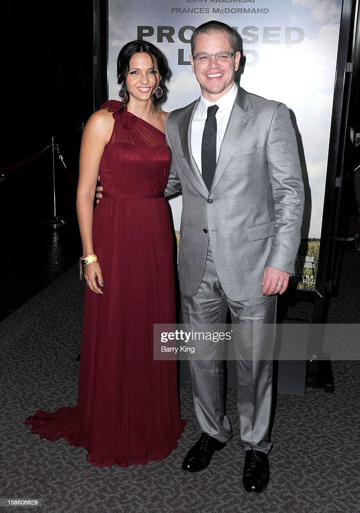 Actor <a gi-track='captionPersonalityLinkClicked' href=/galleries/search?phrase=Matt+Damon&family=editorial&specificpeople=202093 ng-click='$event.stopPropagation()'>Matt Damon</a> (R) and wife Luciana Barroso arrive at the Los Angeles premiere of 'Promised Land' held at Directors Guild Of America on December 6, 2012 in Los Angeles, California.
