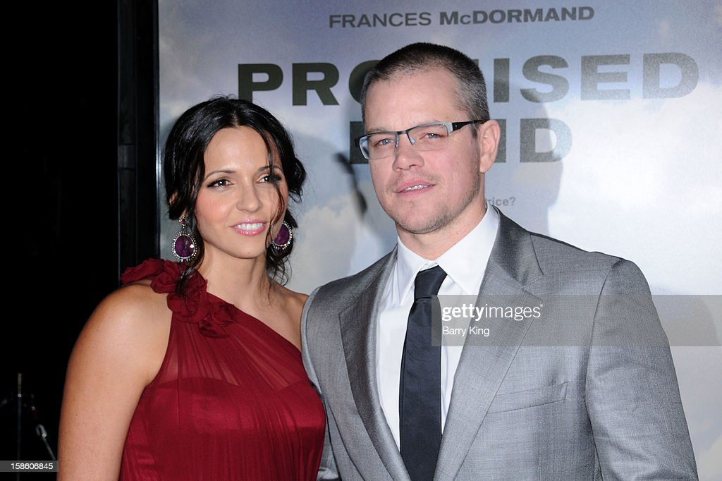 Actor <a gi-track='captionPersonalityLinkClicked' href=/galleries/search?phrase=Matt+Damon&family=editorial&specificpeople=202093 ng-click='$event.stopPropagation()'>Matt Damon</a> and wife Luciana Barroso arrive at the Los Angeles premiere of 'Promised Land' held at Directors Guild Of America on December 6, 2012 in Los Angeles, California.
