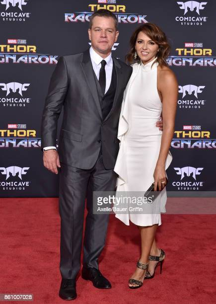 Actor Matt Damon and wife Luciana Damon arrive at the premiere of Disney and Marvel's 'Thor Ragnarok' at the El Capitan Theatre on October 10 2017 in...