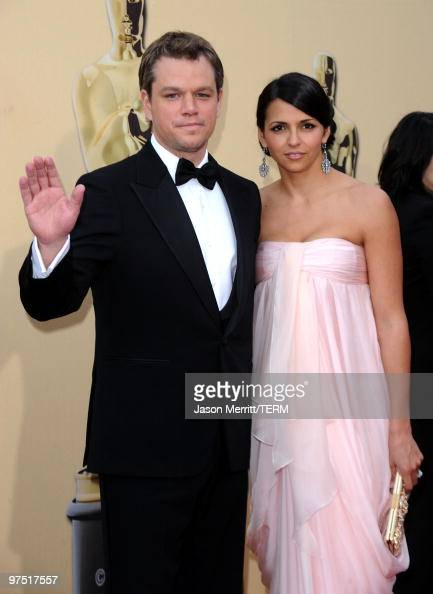 Actor Matt Damon and wife Luciana Damon arrives at the 82nd Annual Academy Awards held at Kodak Theatre on March 7 2010 in Hollywood California