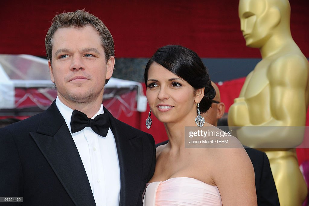 Actor Matt Damon (L) and wife Luciana Barroso arrives at the 82nd Annual Academy Awards held at Kodak Theatre on March 7, 2010 in Hollywood, California.