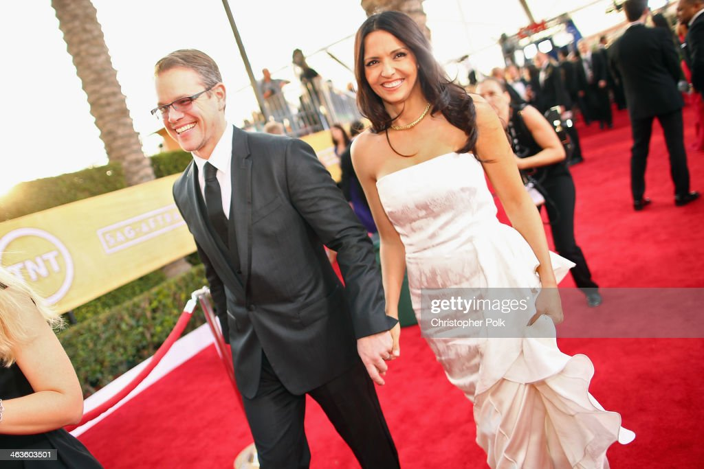 Actor Matt Damon and wife Luciana Damon attend 20th Annual Screen Actors Guild Awards at The Shrine Auditorium on January 18, 2014 in Los Angeles, California.