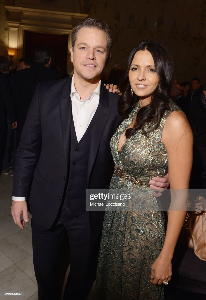 Actor <a gi-track='captionPersonalityLinkClicked' href=/galleries/search?phrase=Matt+Damon&family=editorial&specificpeople=202093 ng-click='$event.stopPropagation()'>Matt Damon</a> and wife Luciana Barroso attend the after party following the 'Monuments Men' premiere at The Metropolitain Club on February 4, 2014 in New York City.