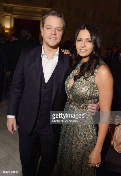 Actor Matt Damon and wife Luciana Barroso attend the after party following the 'Monuments Men' premiere at The Metropolitain Club on February 4 2014...