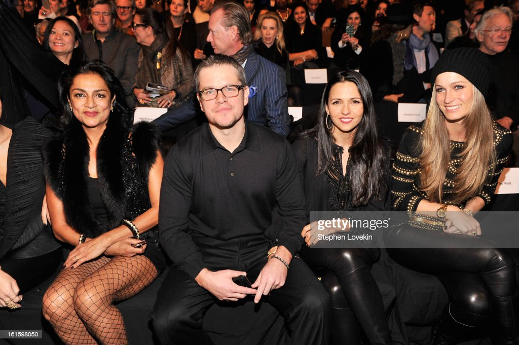 Actor <a gi-track='captionPersonalityLinkClicked' href=/galleries/search?phrase=Matt+Damon&family=editorial&specificpeople=202093 ng-click='$event.stopPropagation()'>Matt Damon</a> and wife Luciana Barroso attend the Naeem Khan Fall 2013 fashion show during Mercedes-Benz Fashion Week at The Theatre at Lincoln Center on February 12, 2013 in New York City.