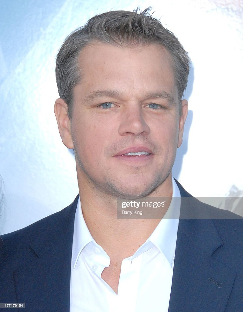 Actor <a gi-track='captionPersonalityLinkClicked' href=/galleries/search?phrase=Matt+Damon&family=editorial&specificpeople=202093 ng-click='$event.stopPropagation()'>Matt Damon</a> arrives at the Los Angeles Premiere of 'Elysium' on August 7, 2013 at Regency Village Theatre in Westwood, California.