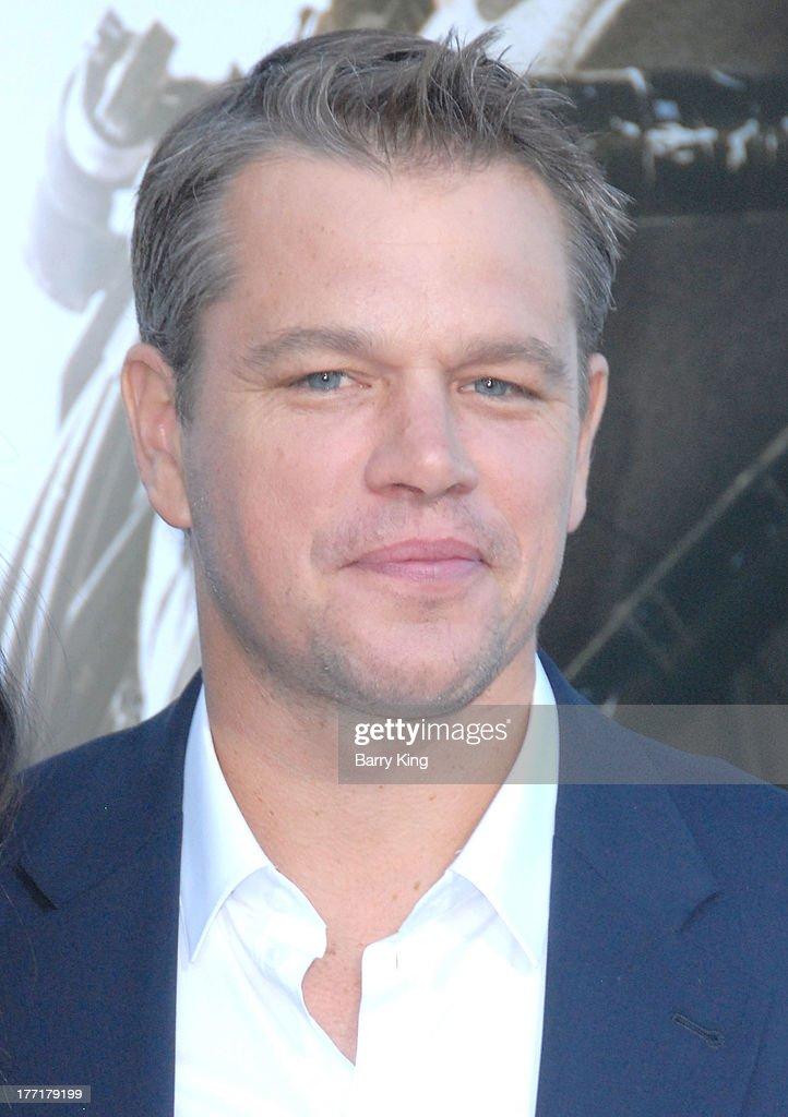Actor Matt Damon arrives at the Los Angeles Premiere of 'Elysium' on August 7, 2013 at Regency Village Theatre in Westwood, California.