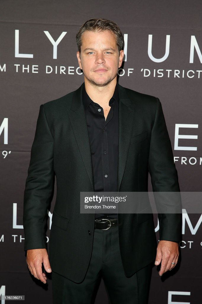 Actor <a gi-track='captionPersonalityLinkClicked' href=/galleries/search?phrase=Matt+Damon&family=editorial&specificpeople=202093 ng-click='$event.stopPropagation()'>Matt Damon</a> arrives for the 'Elysium' Australian premiere at Event Cinemas George Street on August 12, 2013 in Sydney, Australia.
