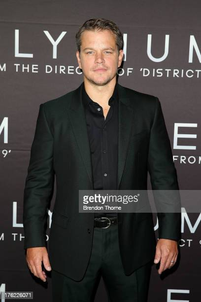 Actor Matt Damon arrives for the 'Elysium' Australian premiere at Event Cinemas George Street on August 12 2013 in Sydney Australia