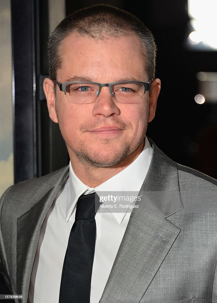 Actor Matt Damon arrives to the premiere of Focus Features' 'Promised Land' at the Directors Guild Of America on December 6, 2012 in Los Angeles, California.