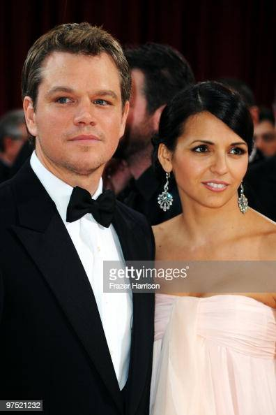 Actor Matt Damon arrives with his wife Luciana Barroso arrives at the 82nd Annual Academy Awards held at Kodak Theatre on March 7 2010 in Hollywood...