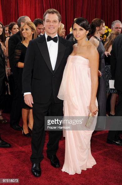 Actor Matt Damon arrives with his wife Luciana Barroso at the 82nd Annual Academy Awards held at Kodak Theatre on March 7 2010 in Hollywood California