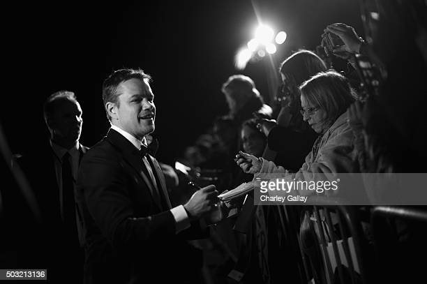 Actor Matt Damon attends the 27th Annual Palm Springs International Film Festival Awards Gala at Palm Springs Convention Center on January 2 2016 in...