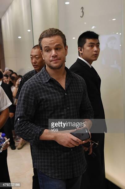 Actor Matt Damon attends 'The Great Wall' press conference at Park Hyatt Hotel on July 2 2015 in Beijing China