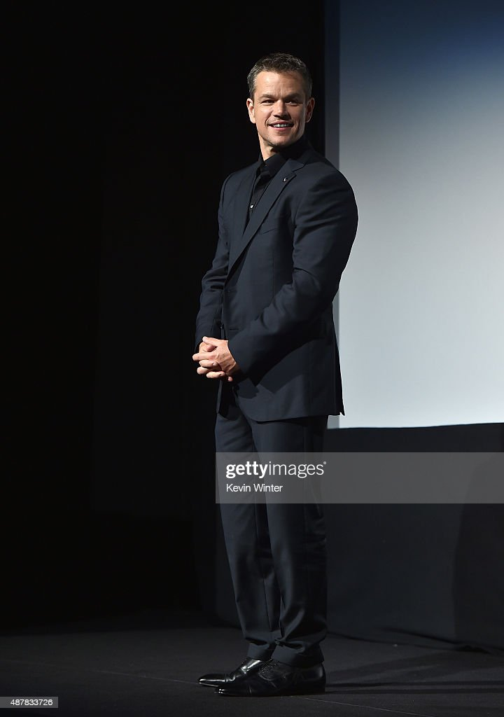 Actor <a gi-track='captionPersonalityLinkClicked' href=/galleries/search?phrase=Matt+Damon&family=editorial&specificpeople=202093 ng-click='$event.stopPropagation()'>Matt Damon</a> attends 'The Martian' premiere during the 2015 Toronto International Film Festival at Roy Thomson Hall on September 11, 2015 in Toronto, Canada.