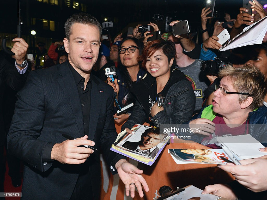 Actor Matt Damon attends 'The Martian' press conference during the 2015 Toronto International Film Festival at TIFF Bell Lightbox on September 11...