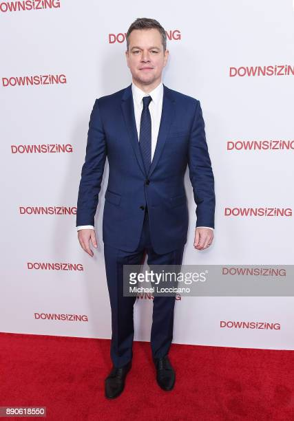 Actor Matt Damon attends the New York screening of 'Downsizing' at AMC Lincoln Square Theater on December 11 2017 in New York City