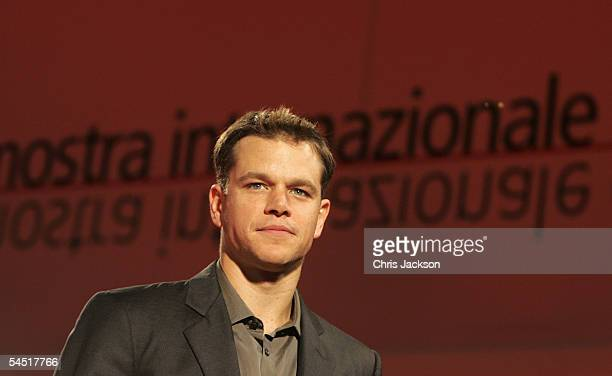 Actor Matt Damon attends the premiere for the film 'The Brothers Grimm' at the Palazzo del Cinema on the fifth day of the 62nd Venice Film Festival...