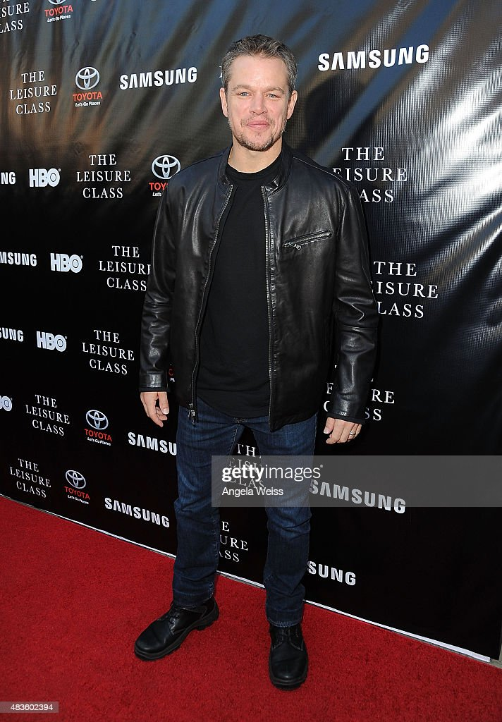 Actor Matt Damon attends the Project Greenlight Season 4 Winning Film premiere 'The Leisure Class' presented by Matt Damon, Ben Affleck, Adaptive Studios and HBO at The Theatre at Ace Hotel on August 10, 2015 in Los Angeles, California.