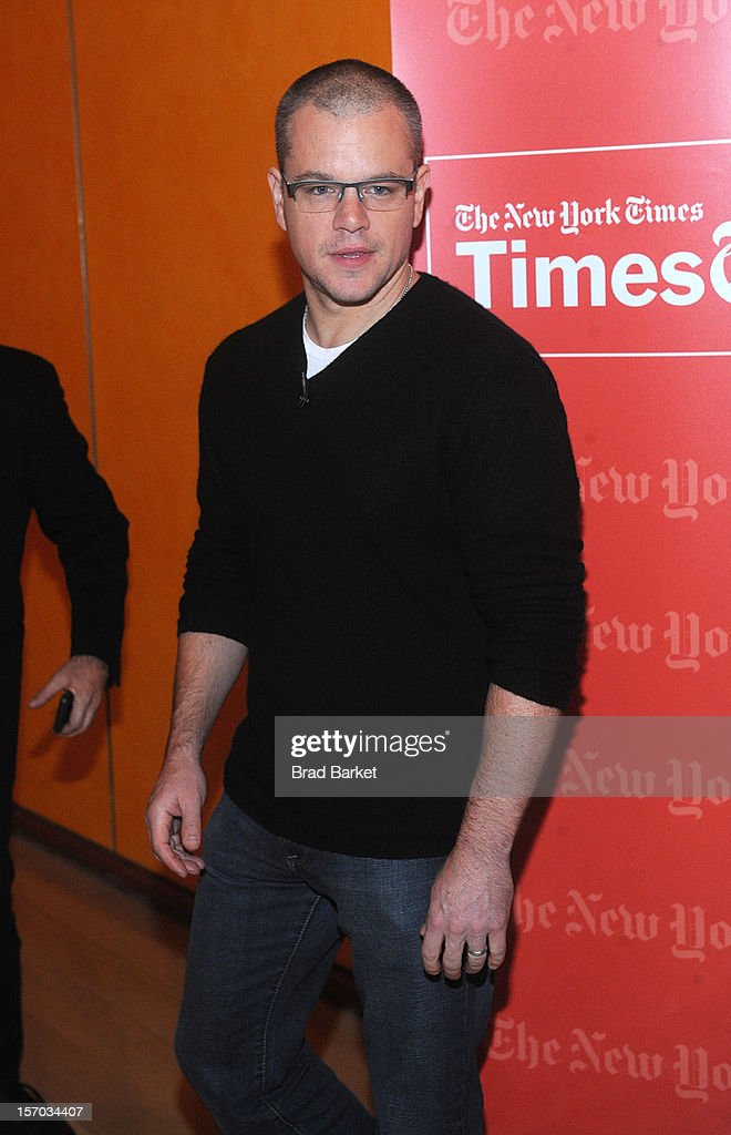 Actor Matt Damon attends TimesTalk Presents An Evening With Marion Cotillard, Matt Damon & Gus Van Sant>> at TheTimesCenter on November 27, 2012 in New York City.