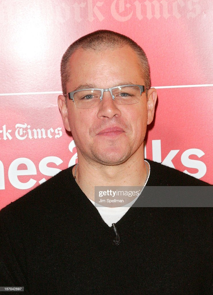 Actor <a gi-track='captionPersonalityLinkClicked' href=/galleries/search?phrase=Matt+Damon&family=editorial&specificpeople=202093 ng-click='$event.stopPropagation()'>Matt Damon</a> attends TimesTalk Presents An Evening With Marion Cotillard, <a gi-track='captionPersonalityLinkClicked' href=/galleries/search?phrase=Matt+Damon&family=editorial&specificpeople=202093 ng-click='$event.stopPropagation()'>Matt Damon</a> & Gus Van Sant at TheTimesCenter on November 27, 2012 in New York City.