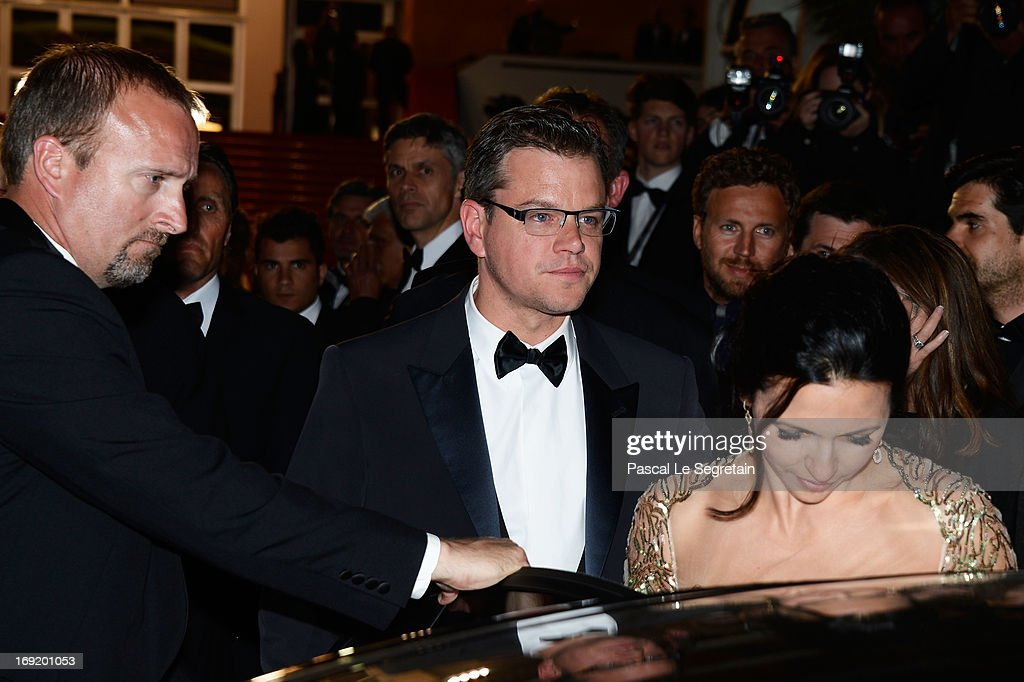 Actor Matt Damon departs the 'Behind The Candelabra' premiere during The 66th Annual Cannes Film Festival at Theatre Lumiere on May 21, 2013 in Cannes, France.