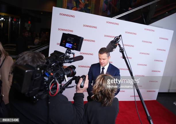 Actor Matt Damon is interviewed during the New York screening of 'Downsizing' at AMC Lincoln Square Theater on December 11 2017 in New York City