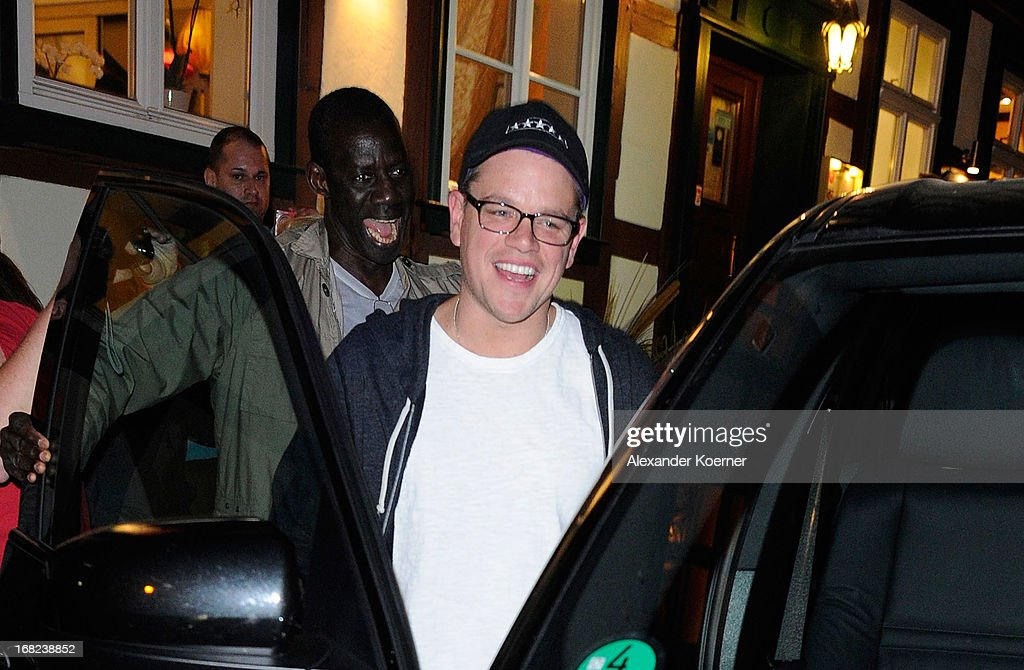 Actor Matt Damon is seen leaving a restaurant on May 06, 2013 in Wernigerode, Germany. He celebrated the 52nd birthday of actor George Clooney, who is currently shooting his film 'The Monuments Men' in several locations in the state of Lower Saxony and around Germany.