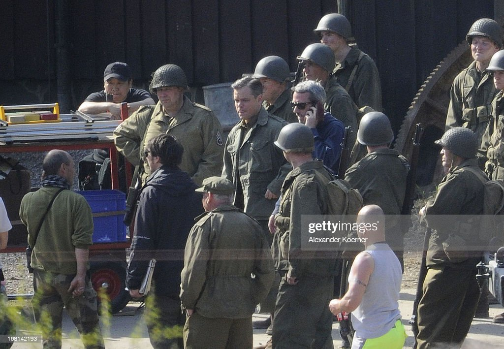 Actor Matt Damon (C) is seen on set of the film 'The Monuments Men' on May 06, 2013 in Bad Grund, Germany.