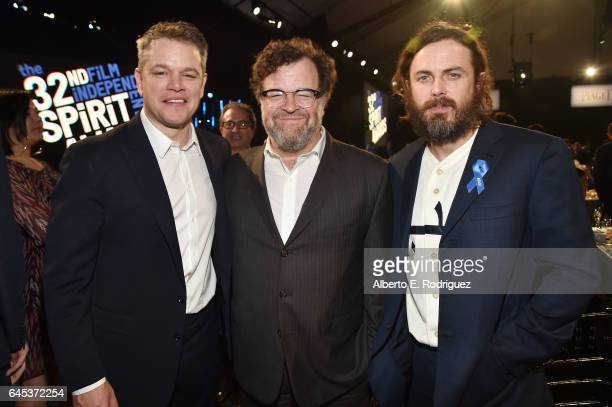 Actor Matt Damon playwright Kenneth Lonergan and actor Casey Affleck attend the 2017 Film Independent Spirit Awards at the Santa Monica Pier on...