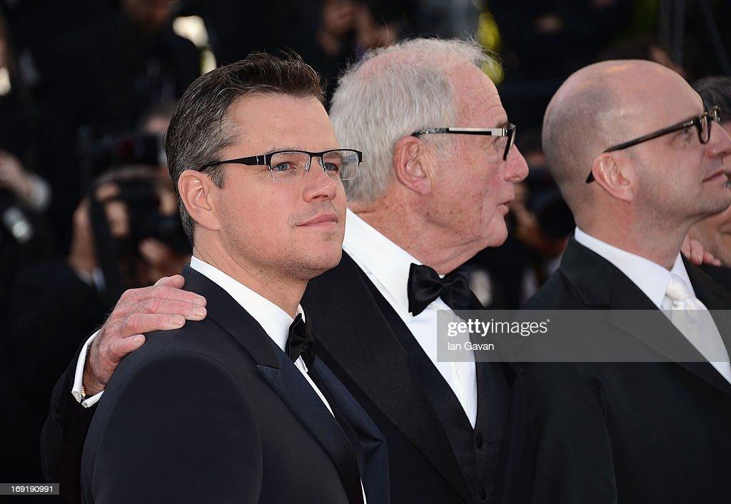 Actor <a gi-track='captionPersonalityLinkClicked' href=/galleries/search?phrase=Matt+Damon&family=editorial&specificpeople=202093 ng-click='$event.stopPropagation()'>Matt Damon</a>, producer <a gi-track='captionPersonalityLinkClicked' href=/galleries/search?phrase=Jerry+Weintraub&family=editorial&specificpeople=212833 ng-click='$event.stopPropagation()'>Jerry Weintraub</a> and director <a gi-track='captionPersonalityLinkClicked' href=/galleries/search?phrase=Steven+Soderbergh&family=editorial&specificpeople=215049 ng-click='$event.stopPropagation()'>Steven Soderbergh</a> attend the 'Behind The Candelabra' Premiere during the 66th Annual Cannes Film Festival at Grand Theatre Lumiere on May 21, 2013 in Cannes, France.
