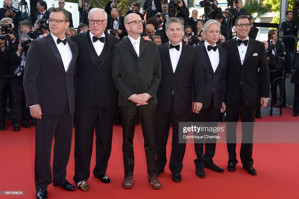 Actor Matt Damon, producer Jerry Weintraub, director Steven Soderbergh, writer Greg Jacobs, actor Michael Douglas and screenwriter Richard LaGravenese attend the Premiere of 'Behind the Candelabra' during the 66th Annual Cannes Film Festival at Palais des Festivals on May 21, 2013 in Cannes, France.