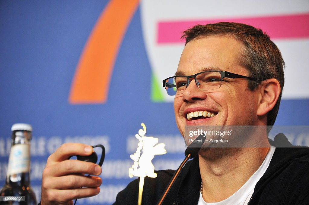 Actor <a gi-track='captionPersonalityLinkClicked' href=/galleries/search?phrase=Matt+Damon&family=editorial&specificpeople=202093 ng-click='$event.stopPropagation()'>Matt Damon</a> smiles as he attends the 'Promised Land' Press Conference during the 63rd Berlinale International Film Festival at the Grand Hyatt Hotel on February 8, 2013 in Berlin, Germany.