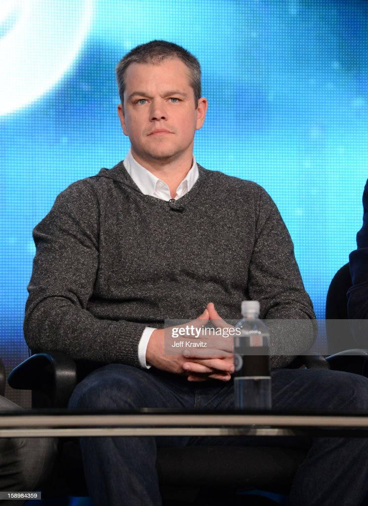 Actor Matt Damon speaks about the new HBO film 'Behind The Candelabra' during the HBO Winter 2013 TCA Panel at The Langham Huntington Hotel and Spa on January 4, 2013 in Pasadena, California.