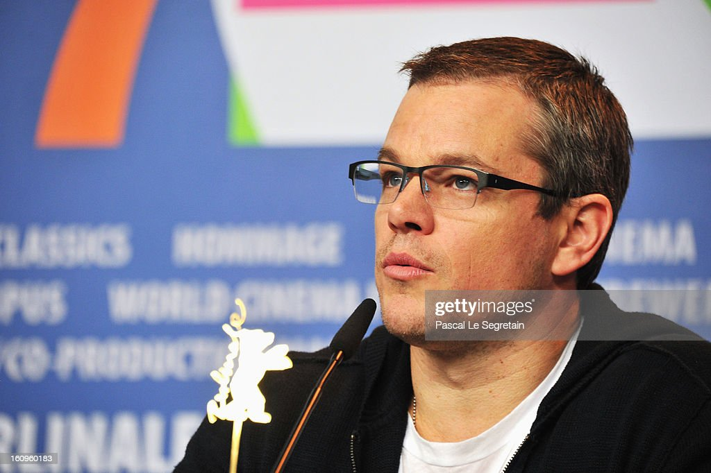 Actor <a gi-track='captionPersonalityLinkClicked' href=/galleries/search?phrase=Matt+Damon&family=editorial&specificpeople=202093 ng-click='$event.stopPropagation()'>Matt Damon</a> speaks as he attends the 'Promised Land' Press Conference during the 63rd Berlinale International Film Festival at the Grand Hyatt Hotel on February 8, 2013 in Berlin, Germany.