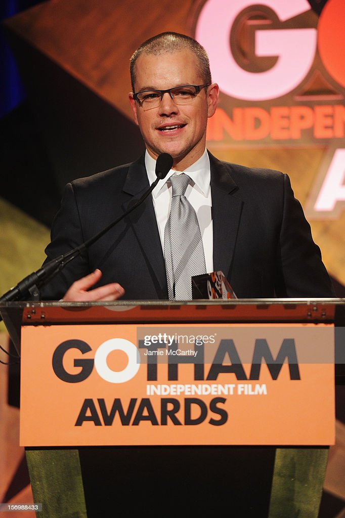 Actor Matt Damon speaks onstage at the 22nd Annual Gotham Independent Film Awards at Cipriani Wall Street on November 26, 2012 in New York City.