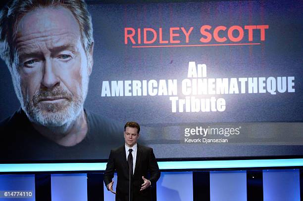 Actor Matt Damon speaks onstage at the 30th Annual American Cinematheque Awards Gala at The Beverly Hilton Hotel on October 14 2016 in Beverly Hills...