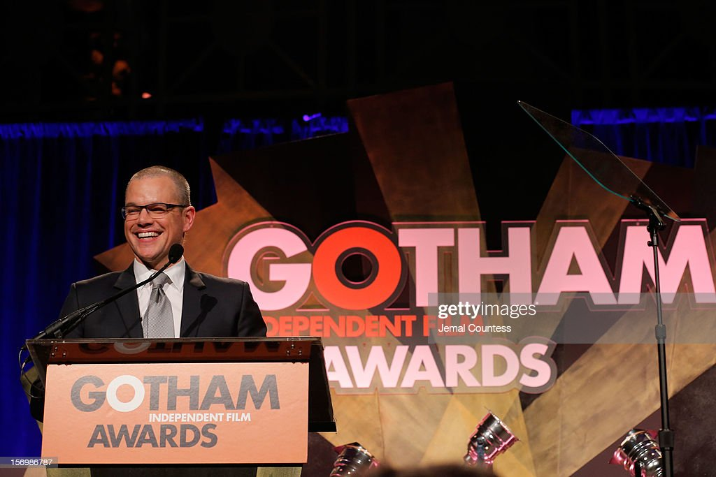 Actor <a gi-track='captionPersonalityLinkClicked' href=/galleries/search?phrase=Matt+Damon&family=editorial&specificpeople=202093 ng-click='$event.stopPropagation()'>Matt Damon</a> speaks onstage at the IFP's 22nd Annual Gotham Independent Film Awards at Cipriani Wall Street on November 26, 2012 in New York City.