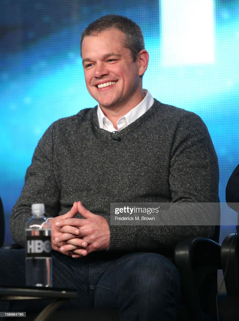 Actor Matt Damon speaks onstage during the 'Behind the Candelabra' panel discussion at the HBO portion of the 2013 Winter TCA Tourduring 2013 Winter TCA Tour - Day 1 at Langham Hotel on January 4, 2013 in Pasadena, California.
