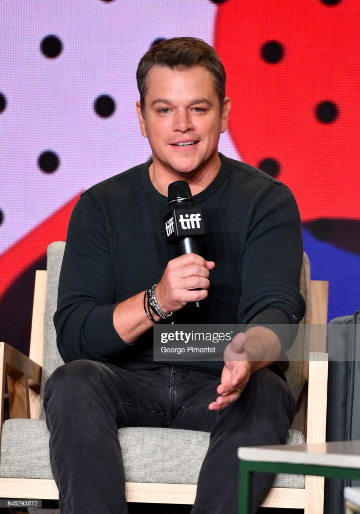 Actor Matt Damon speaks onstage during the 'Downsizing' press conference during the 2017 Toronto International Film Festival at TIFF Bell Lightbox on September 10, 2017 in Toronto, Canada.