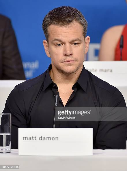 Actor Matt Damon speaks onstage during the 'The Martian' press conference at the 2015 Toronto International Film Festival at TIFF Bell Lightbox on...