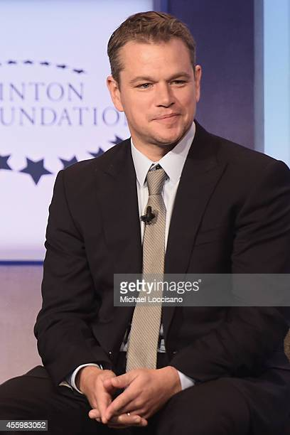 Actor Matt Damon takes part in the 'Cities as Labs of Innovation' Plenary Session during the third day of the Clinton Global Initiative's 10th Annual...