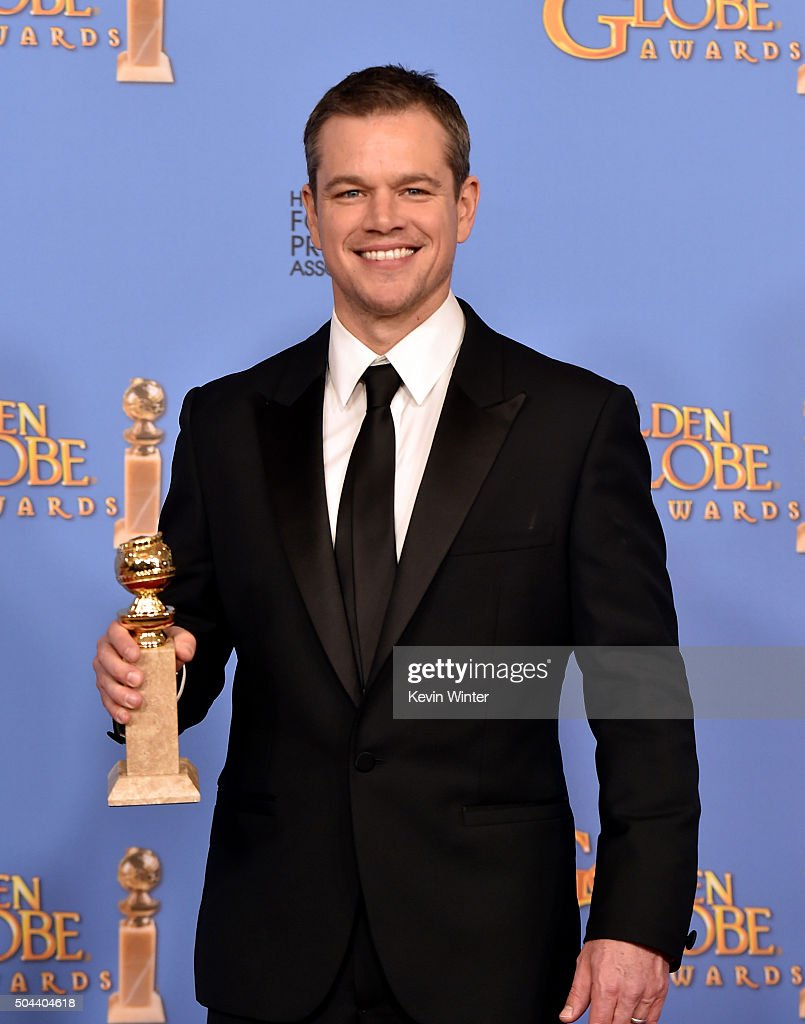 Actor <a gi-track='captionPersonalityLinkClicked' href=/galleries/search?phrase=Matt+Damon&family=editorial&specificpeople=202093 ng-click='$event.stopPropagation()'>Matt Damon</a>, winner of Best Performance in a Motion Picture - Musical or Comedy for 'The Martian,' poses in the press room during the 73rd Annual Golden Globe Awards held at the Beverly Hilton Hotel on January 10, 2016 in Beverly Hills, California.