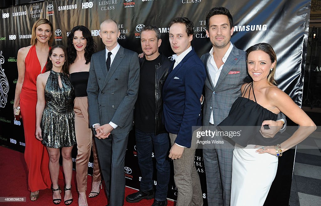 Actor Matt Damon (C) with the cast of 'The Leisure Class' attends the Project Greenlight Season 4 Winning Film premiere 'The Leisure Class' presented by Matt Damon, Ben Affleck, Adaptive Studios and HBO at The Theatre at Ace Hotel on August 10, 2015 in Los Angeles, California.